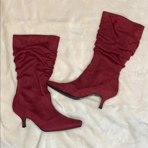 Suede Maroon Heeled Boot